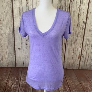 Adidas burn out style purple V-neck tee small